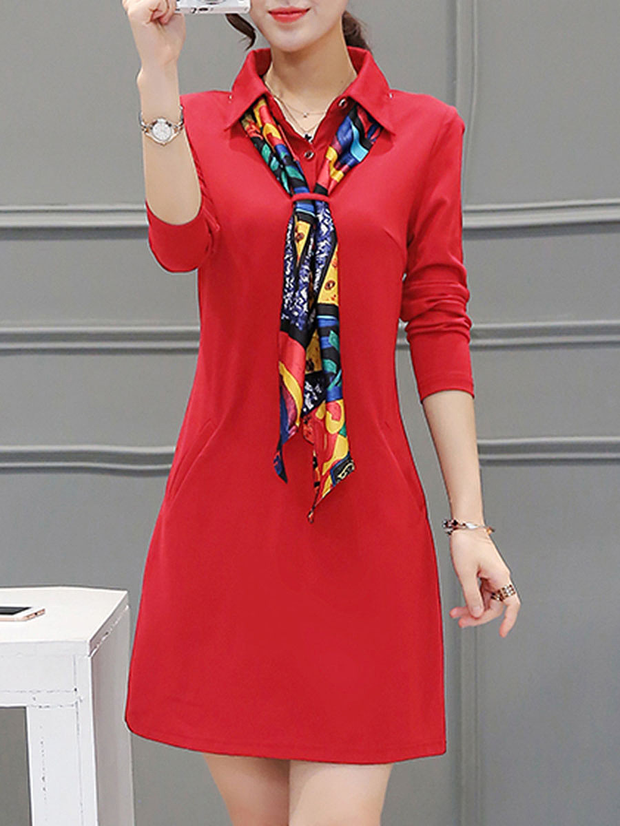 Polo Collar Removable Tie Pocket Bodycon Dress