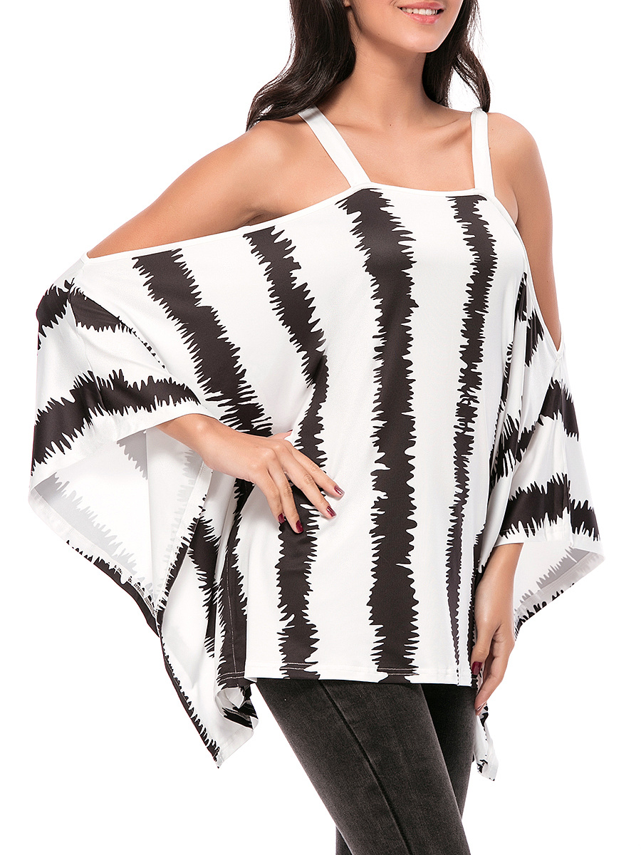 Oversized Open Shoulder Vertical Striped Tunic