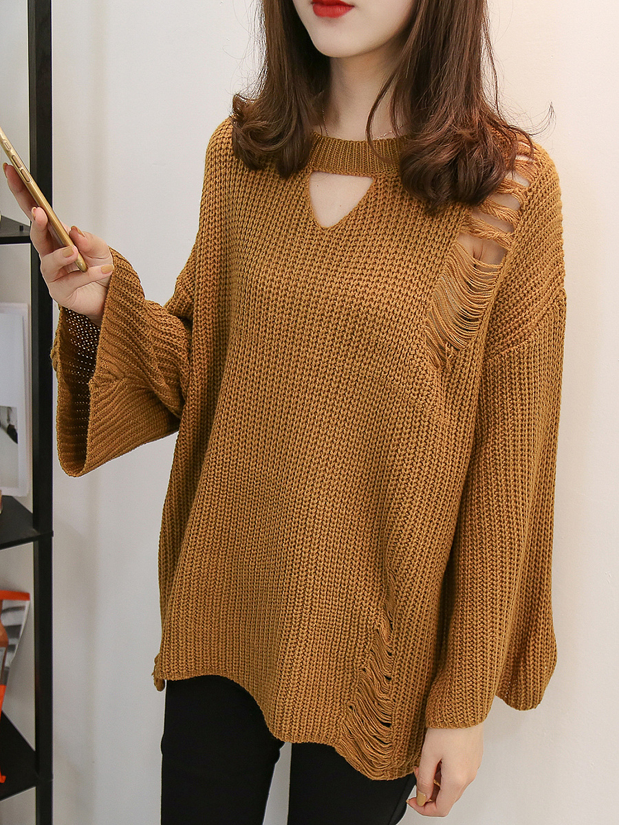 Distressed Keyhole Plain Bell Sleeve Sweater