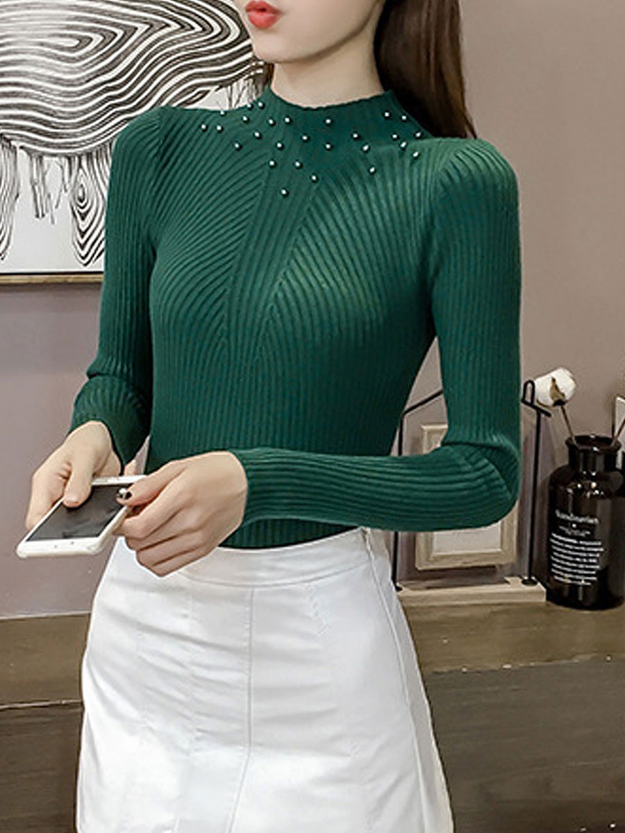Round Neck  Beading  Embossed  Long Sleeve Pullover