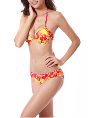 Halter Push Up Underwire Printed Bikini