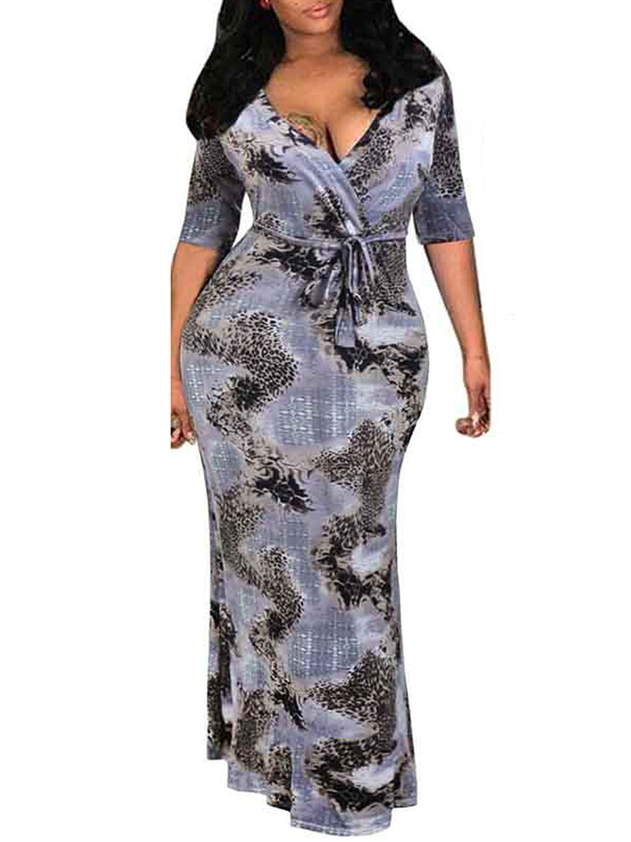 Surplice  Printed Plus Size Midi & Maxi Dresses