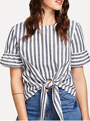 Spring Summer  Polyester  Women  Round Neck  Asymmetric Hem  Striped  Short Sleeve Blouses