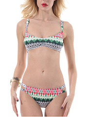 Abstract Print Tribal Printed  Low-Rise Bikini