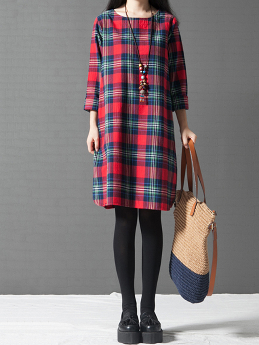 Round Neck  Plaid Long Sleeve Shift Dress