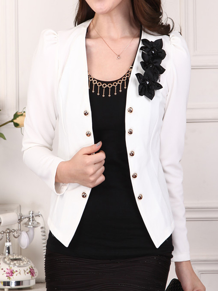 Collarless Decorative Button Floral Blazer