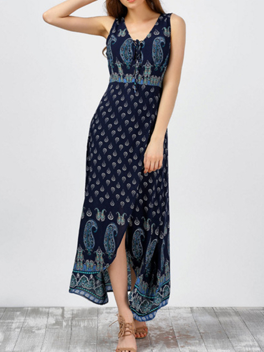 V-Neck  High Slit Lace-Up Tribal Printed Maxi Dress