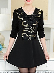 Round Neck Beading Embroidery Skater Dress