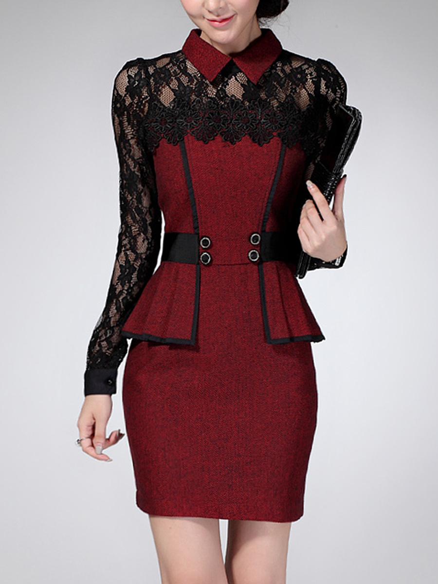 Doll Collar Peplum Patchwork See-Through Bodycon Dress