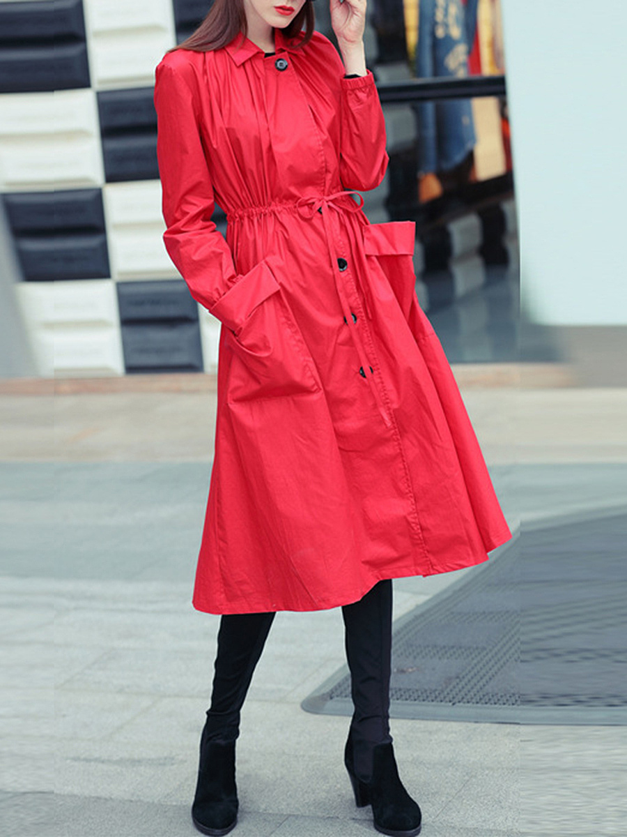 Plain Drawstring Flap Pocket Longline Trench Coat