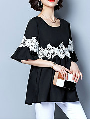 Autumn Spring  Chiffon  Women  Round Neck  Decorative Lace  Plain  Bell Sleeve  Half Sleeve Blouses