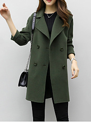 Lapel  Double Breasted  Plain  Long Sleeve Coats