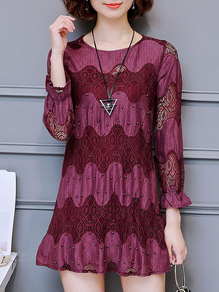 Round Neck  Patchwork  Lace  Polyester Shift Dress