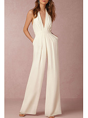Halter  Backless Zipper  Plain Jumpsuits