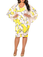 V-Neck  Printed Batwing Sleeve Plus Size Bodycon Dresses