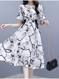 Round Neck  Abstract Print Skater Dress