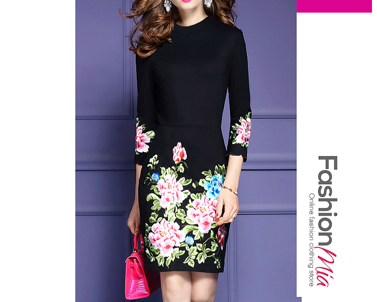 thickness:regular, brand_name:fashionmia, style:western, material:blend, collar&neckline:crew neck, sleeve:three-quarter sleeve, pattern_type:floral, length:knee-length, how_to_wash:cold  hand wash, supplementary_matters:all dimensions are measured manually with a deviation of 2 to 4cm.,the fabric is elastic., occasion:daily,date, season:autumn, dress_silhouette:sheath, package_included:dress*1, lengthbustwaisthip