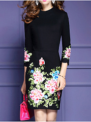 Crew Neck  Floral Bodycon Dress