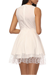 Hollow Out Round Neck Plain Skater Dress