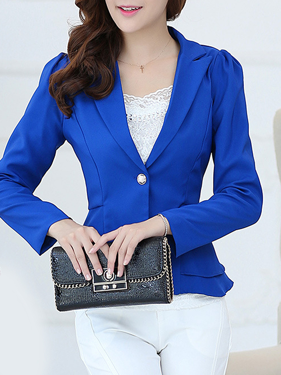 Plain Peplum Single Button Blazer