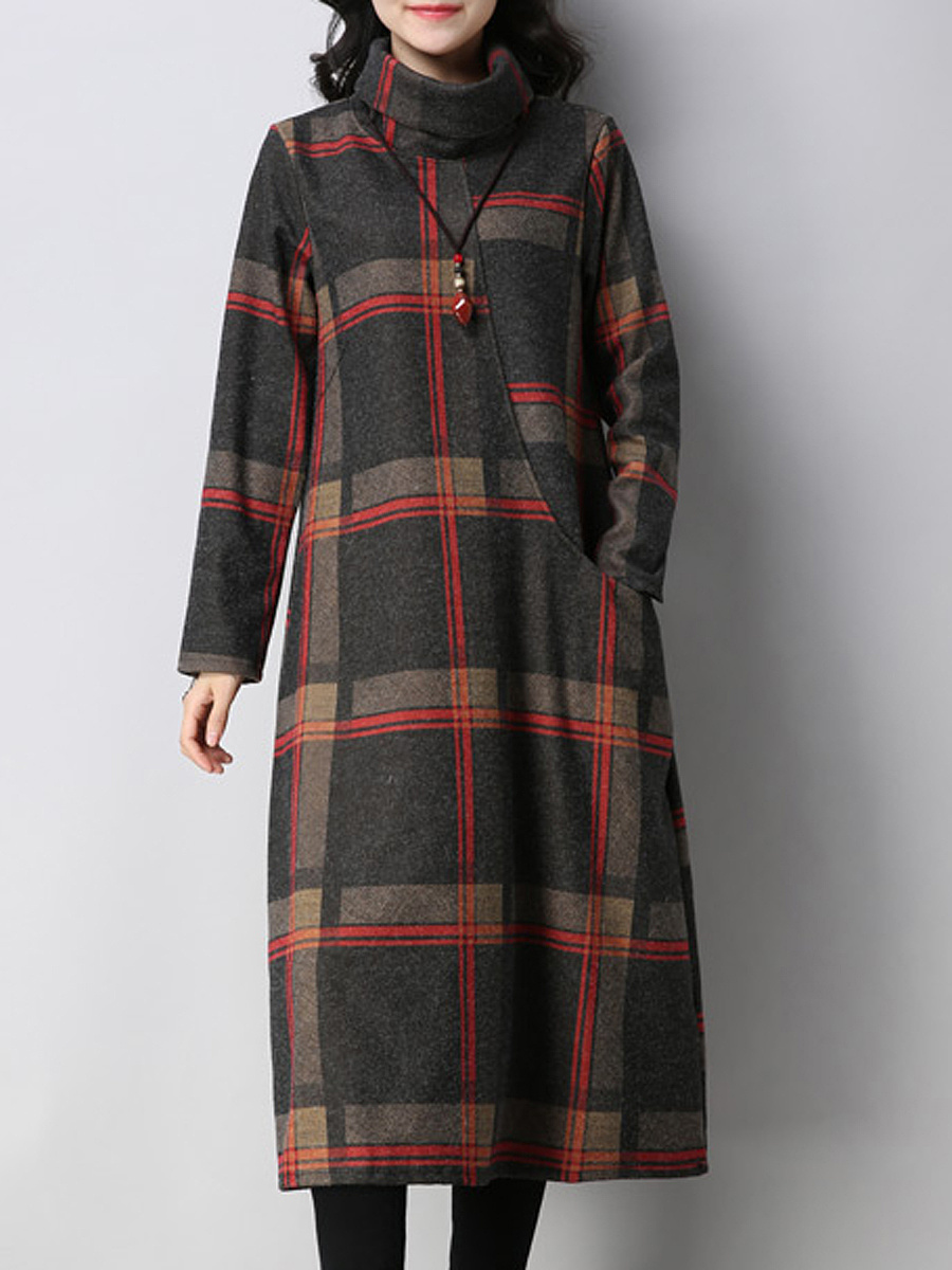 High Neck  Plaid  Polyester Shift Dresses