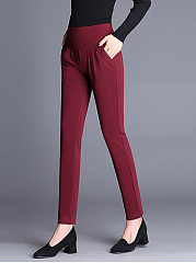 Plain Pocket Slim-Leg Casual Pants
