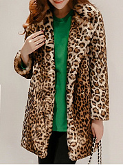 Lapel  Slit Pocket  Leopard  Long Sleeve Coats