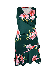Surplice  Floral Plus Size Bodycon Dresses