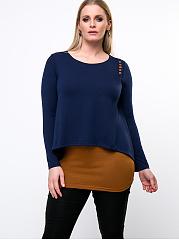 Color-Block-Decorative-Button-Round-Neck-Plus-Size-T-Shirt
