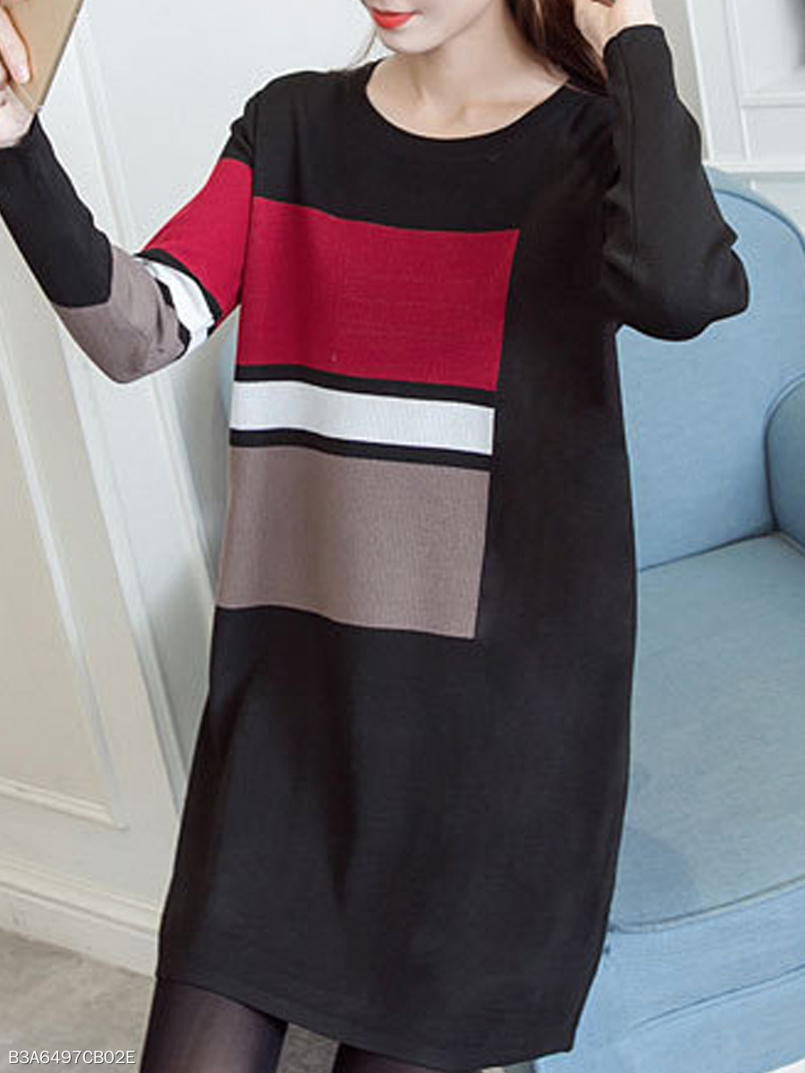 Round Neck  Color Block Geometric  Long Sleeve Sweaters Pullover