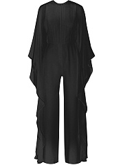 Cape Sleeve Crew Neck Plain Wide-Leg Jumpsuit