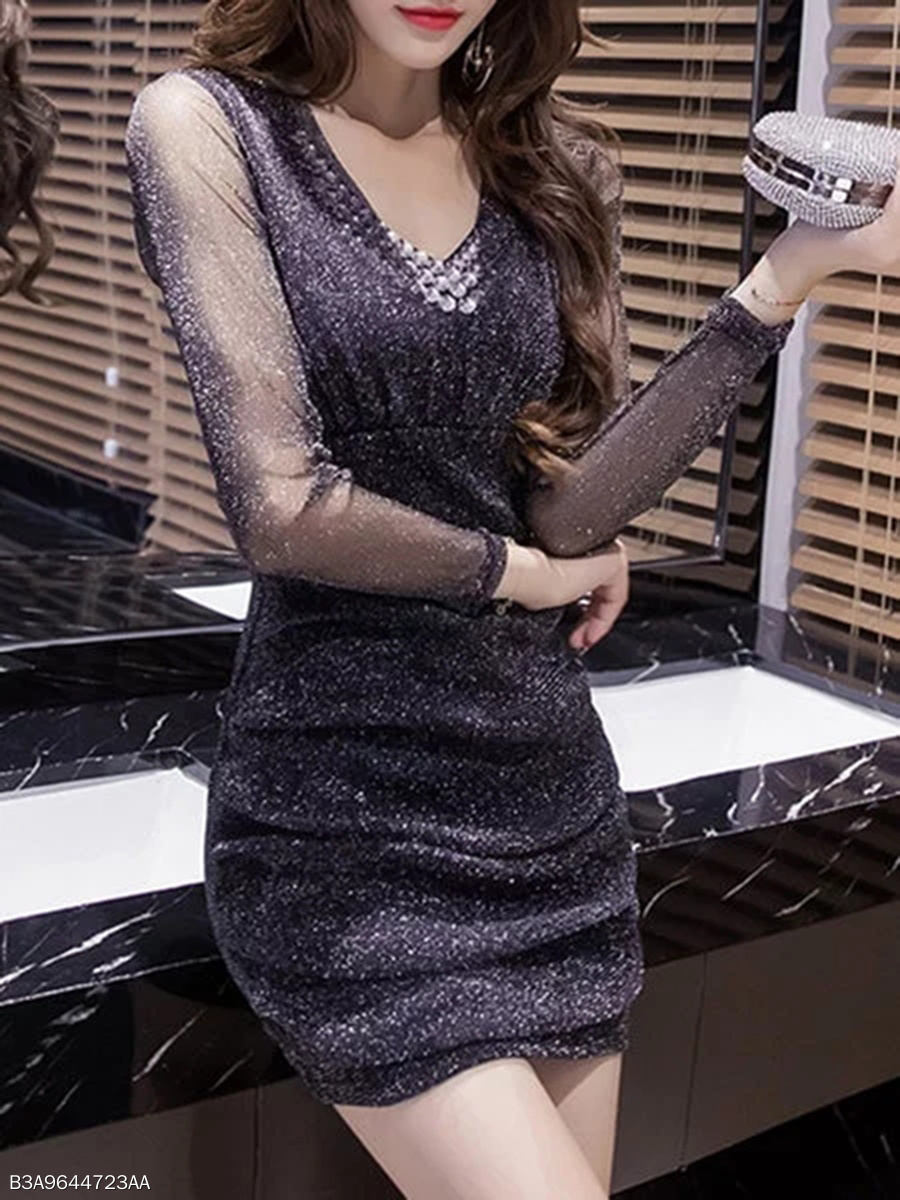Sexy V-Neck See-Through Plain Rhinestone Mini Bodycon Dress