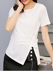 Summer  Polyester  Women  Round Neck  Slit  Plain  Short Sleeve Blouses