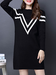 Round Neck Knit Casual Color Block Shift Dress