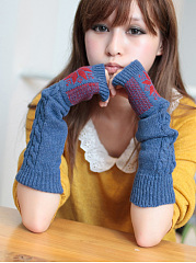 Geometric Snow Long Knit Thick Arm Warmers