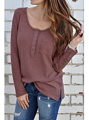 Autumn Spring  Women  Round Neck  Decorative Button  Plain Long Sleeve T-Shirts