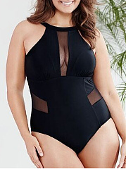 See-Through  Plain Plus Size One Piece