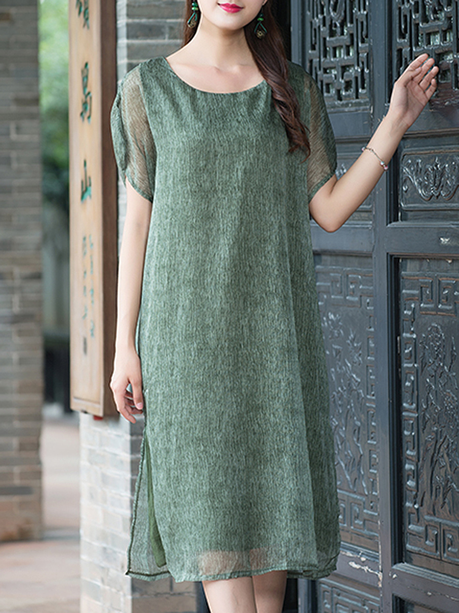 Round Neck Hollow Out Plain Chiffon Midi Shift Dress