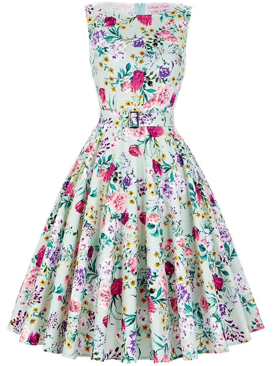 Fancy Boat Neck  Belt  Floral Printed Skater Dress