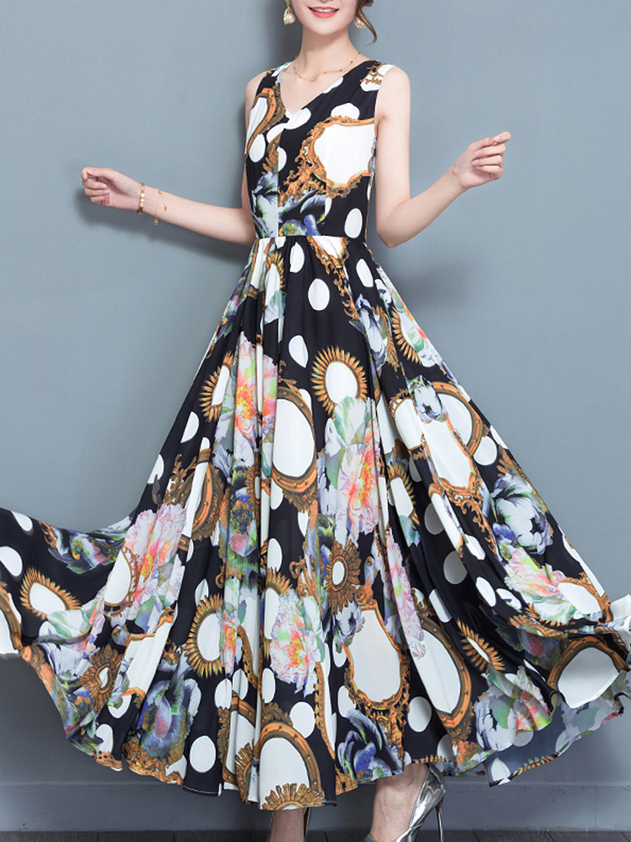 V-Neck Printed Sleeveless Chiffon Maxi Dress