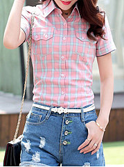 Summer  Cotton  Women  Turn Down Collar  Asymmetric Hem Patch Pocket Single Breasted  Plaid  Short Sleeve Blouses
