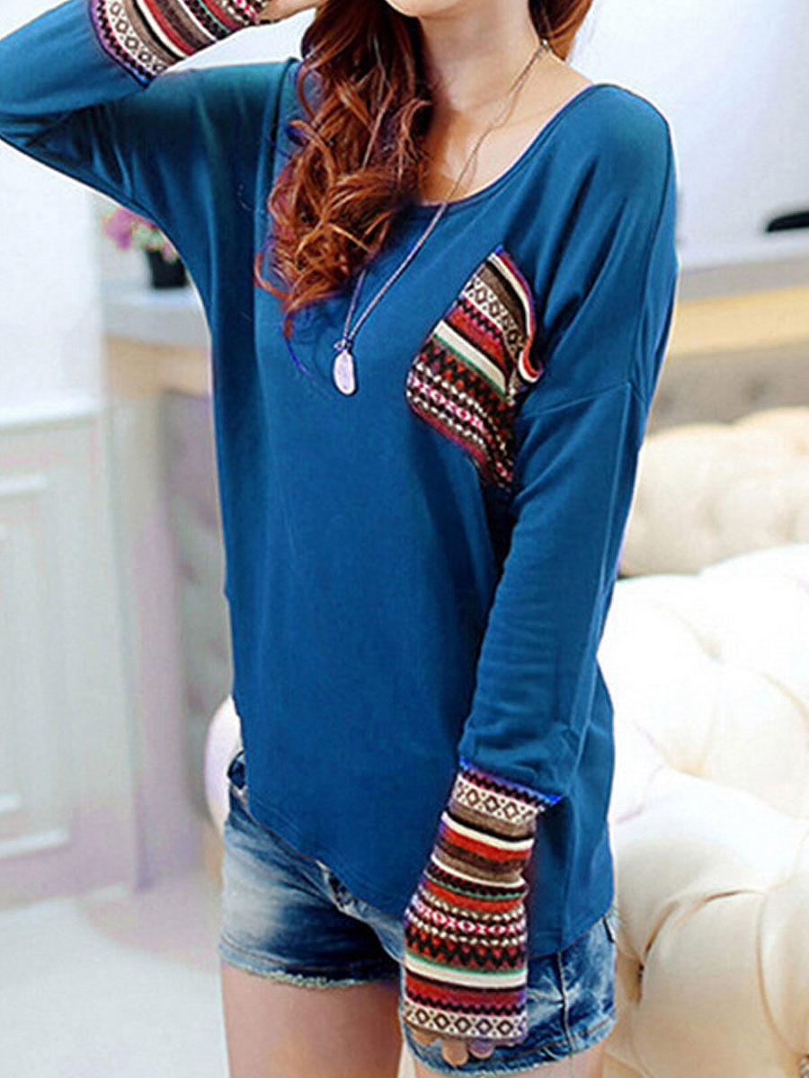 Round Neck Patch Pocket Patchwork Plain Long Sleeve T-Shirts. Round ...
