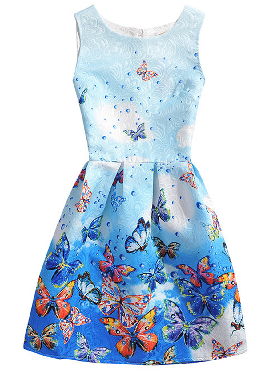Embossed Butterfly Printed Sleeveless Round Neck Skater Dress