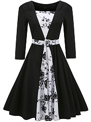 Black White Color Block Printed Square Neck Belt Skater Dress