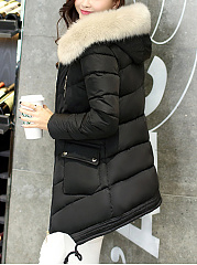 Hooded Flap Pocket Quilted Padded Coat