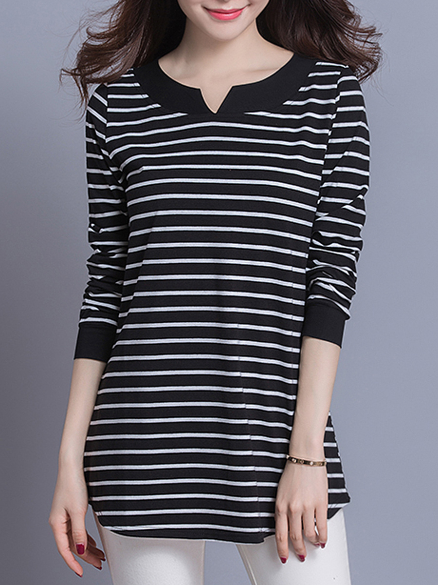 Split Neck Loose Long Sleeve T-Shirt