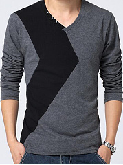 V-Neck  Color Block  Long Sleeve Long Sleeves T-Shirts