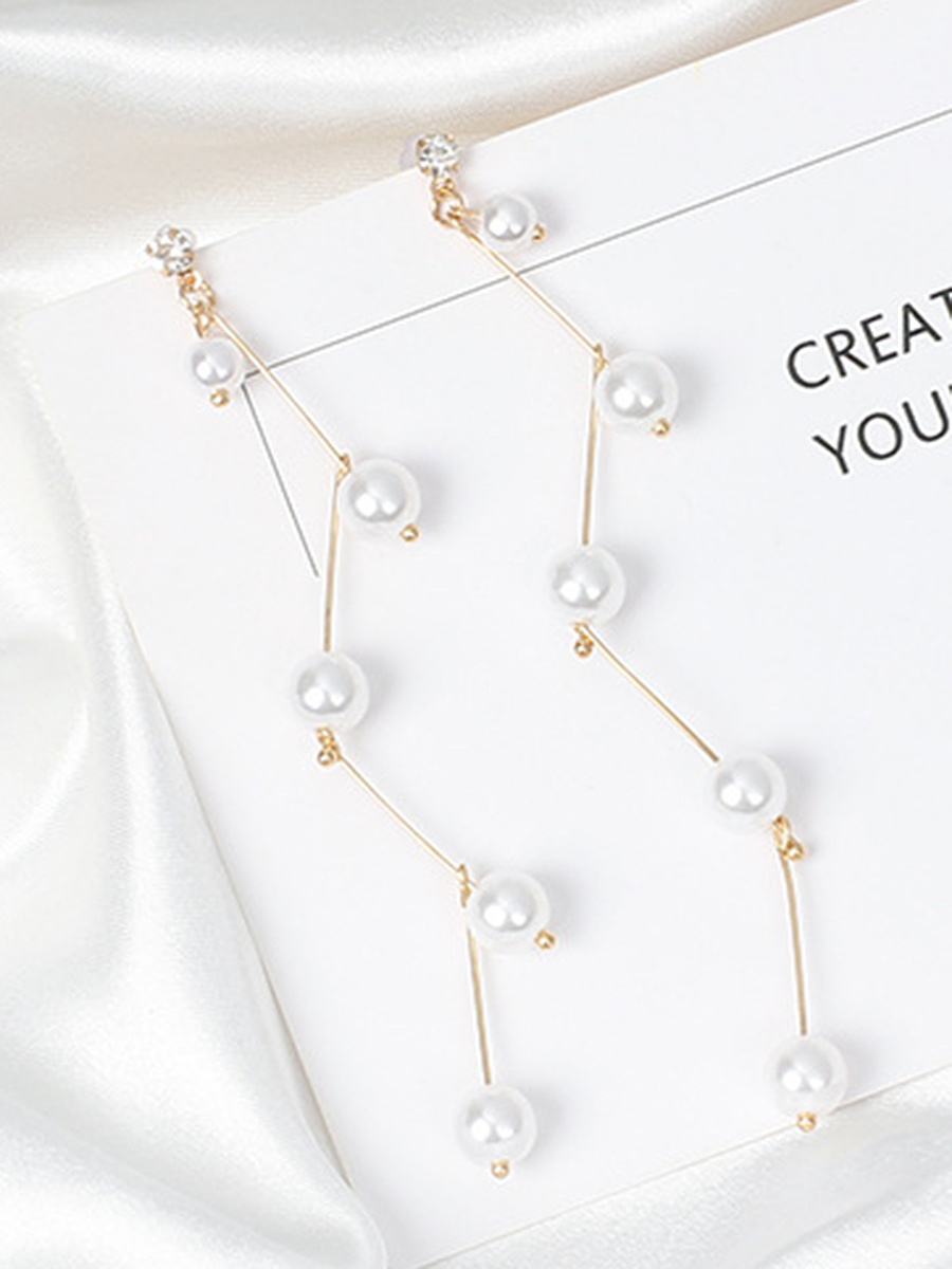 Faux Pearl Link Drop Earrings