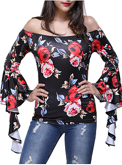 Polyester  Word Collar  Floral Printed  Bell Sleeve  Long Sleeve Long Sleeve T-Shirts