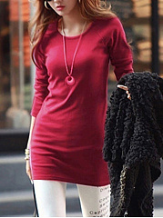 Basic Round Neck  Plain Long Sleeve T-Shirt